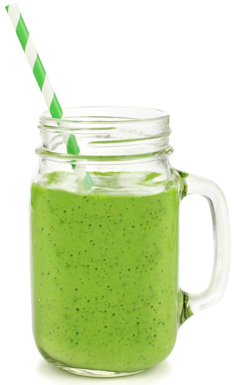 Healthy green smoothie with straw in a jar mug isolated on white